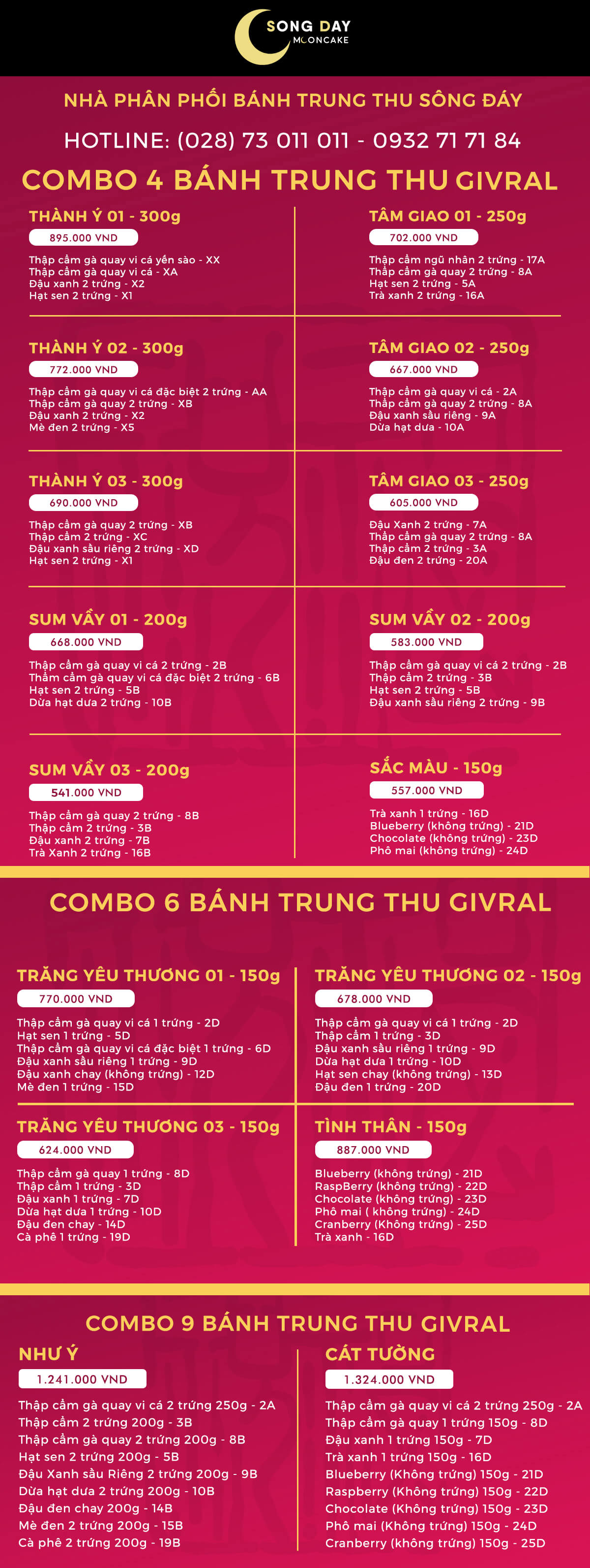 combo banh trung thu givral 2018